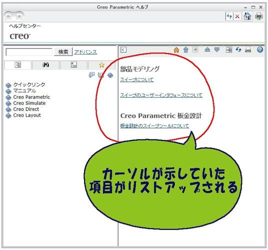 PTC Creo Parametricのヘルプにリストアップされた項目