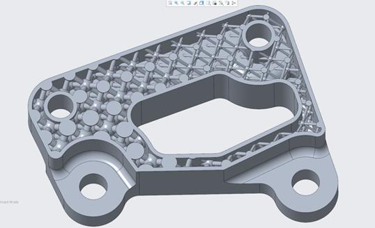 Creo 4.0で作成された格子構造。3Dプリンターであればこのような形状も用意に製造できる。