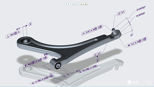PTC Creoの3Dモデルに表示された幾何公差