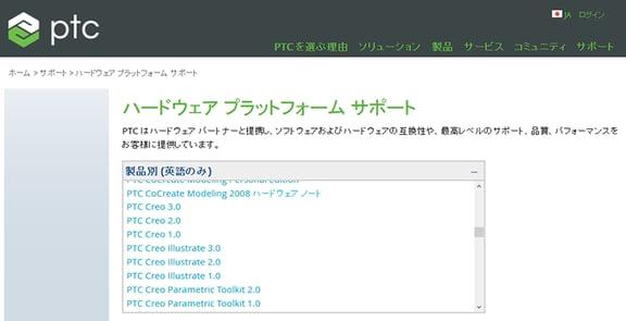 PTCハードウェアプラットサポートページ