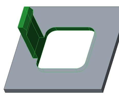 Creo Parametric画面: 1枚のシードと2枚の境界サーフェスによる形状の選択結果