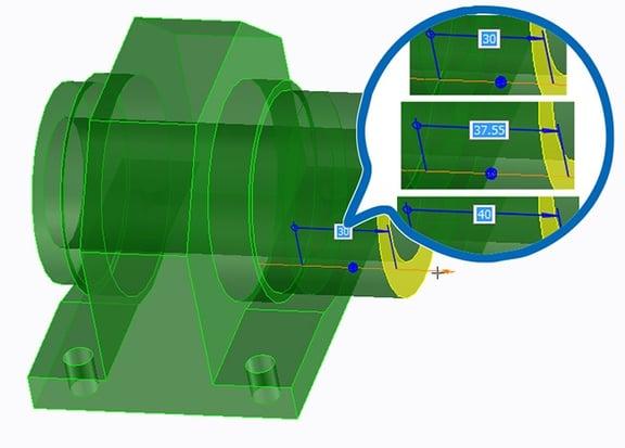 PTC Creo Elements/Direct Modelingで3Dコパイロットをドラッグする際の間隔を変更する方法