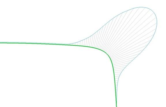 PTC Creo Parametricのスケッチャーで曲率連続で接続されたスプライン