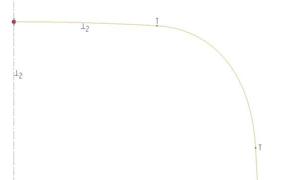 PTC Creo Parametricで正接拘束が適用されたスプライン