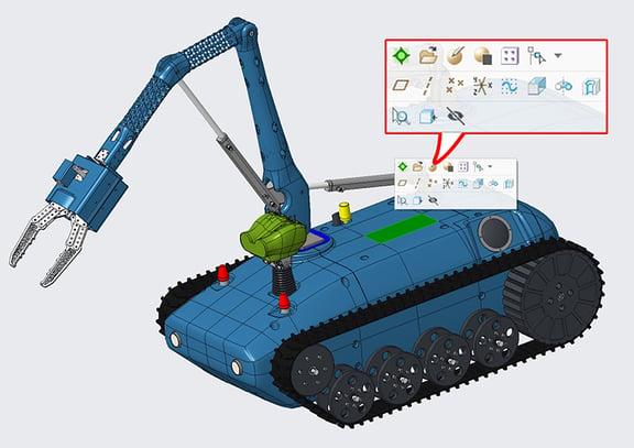 PTC Creo Parametric 4.0のアセンブリで構成部品のサーフェスを選択