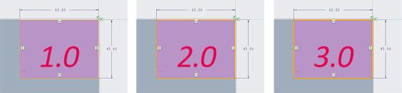 PTC Creo Parametric 4.0のスケッチャーで線幅の値による見え方を比較