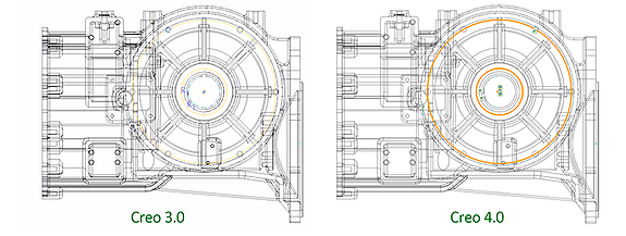 PTC Creo Parametric 3.0と4.0のスケッチャーでの線の見え方を比較