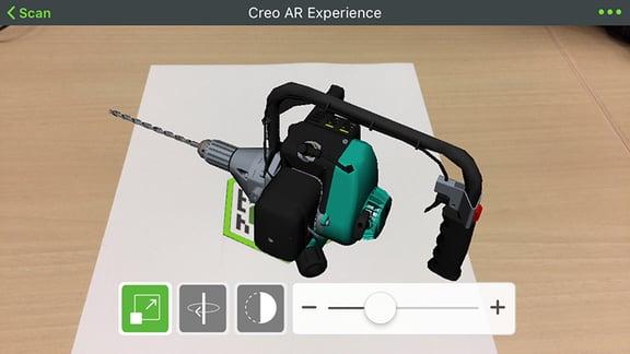 Creo Parametricの3DデータをARを活用して見ている画像