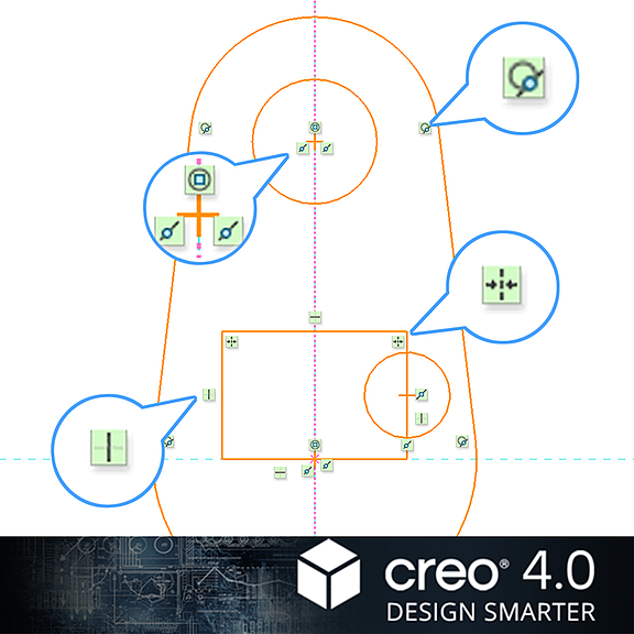 PTC Creo Parametricで新しく採用されたスケッチャー内の拘束アイコン
