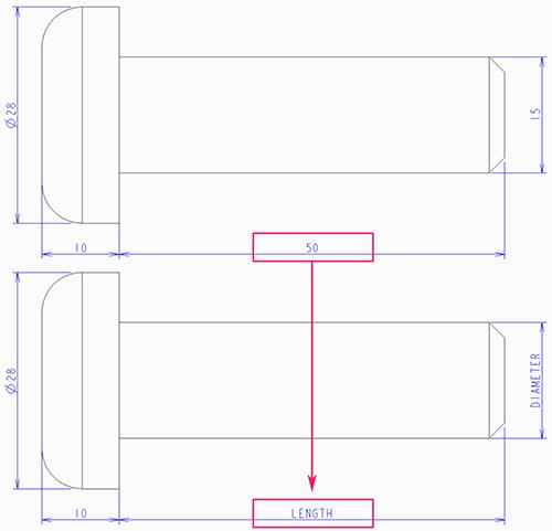 Creo Parametricの図面で寸法値を寸法シンボルで表示した状態