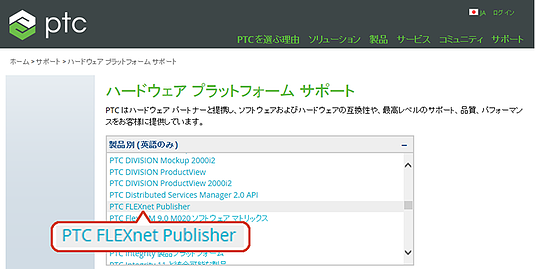 PTC FLEXnet Publisherを選択する