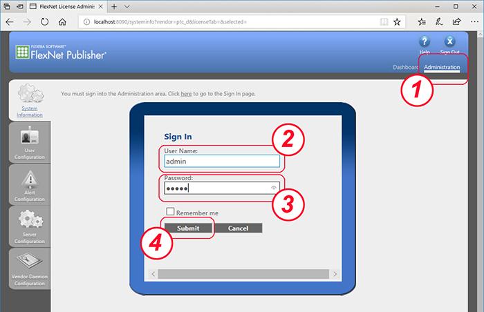 Flexnet Web Interfaceでログインする。初期値はユーザー名、パスワードともadminになぅている