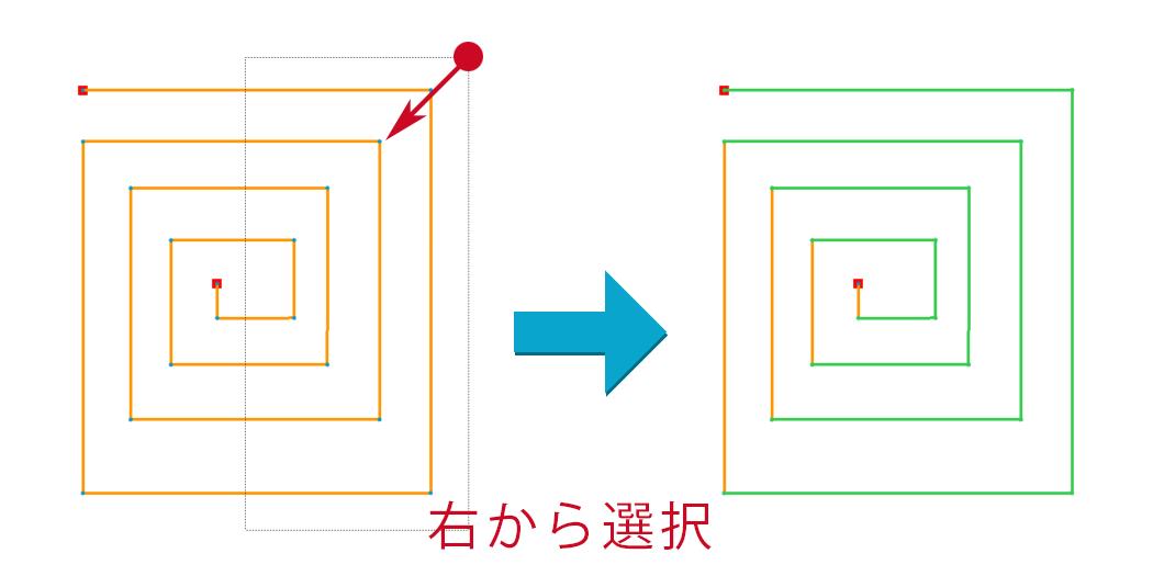 Creo Parametricのスケッチャーで右から囲んでアイテムを選択