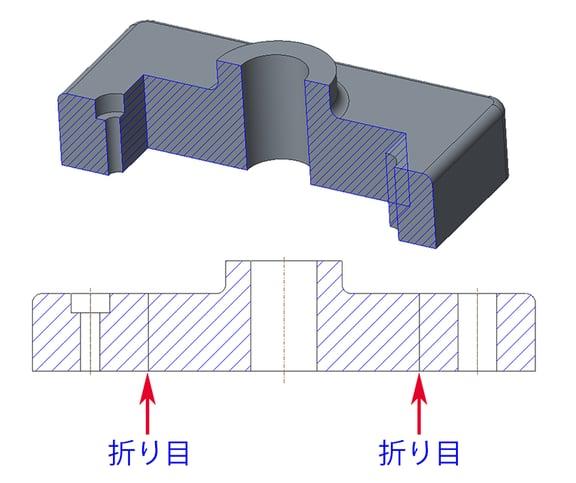 Creo Parametricの階段断面の展開図で表示された折り目(つなぎ目)
