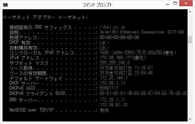 コマンドプロンプトのipconfig/all結果表示画面