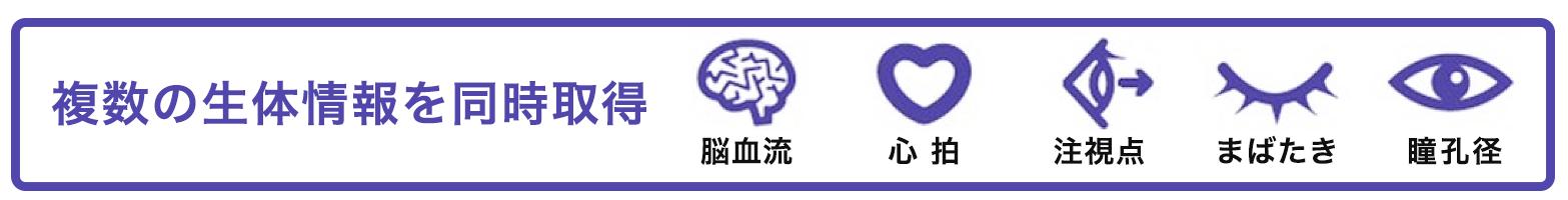 複数の生態情報を同時取得 脳血流 心拍 注視点 まばたき 瞳孔径